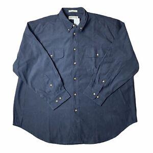 ORVIS Watershed Buckskin Men Button Shirt Navy Long Sleeve Outdoor Camp 2XL XXL
