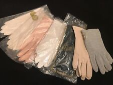 Fab! Vintage 60's Lot of 7 Assorted Unused Stretch Fabric Wrist Gloves One Size