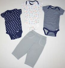 LOT of 4 Baby Boys Newborn Clothes Gerber Onsies One-Piece Shirts & Pants 6-9M