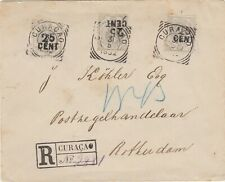 Curacao 1892 3x 25c overprint on registered cover to Holland