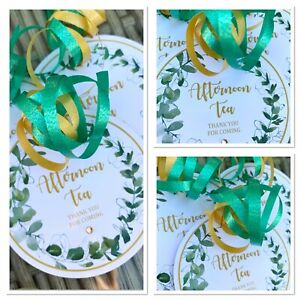 5 x Personalised Green Floral Round Afternoon Tea Gift tags Labels Food Boxes