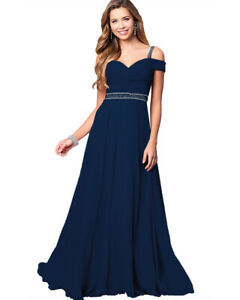 Women's Chiffon Formal Gown Dress Prom Cocktail Party Bridesmaid Dress Size 8