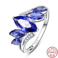 5.05CT Marquise Cut AAA Tanzanite 100% 925 Sterling Silver Ring Size L½ N½ P½ R½