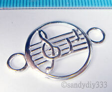 1x STERLING SILVER MUSICAL NOTE PENDANT ROUND CONNECTOR BEAD 18.3mm #1167