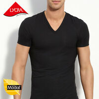 Mens Micro Modal V-Neck Short Sleeve T-Shirt Undershirt Fit Slim Tees YU5563
