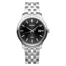 Seiko sur145p1 100m acciaio quadrante nero data orologio RRP £ 159 ufficiale Regno Unito RIVENDITORE