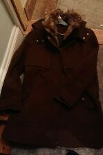 Ladies Khaki /Brown parka Style Coat Fur Trim And Hood Size 16