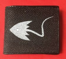 100% GENUINE STINGRAY FISH SKIN BLACK LEATHER MENS BI-FOLD WALLET STING RAY 1