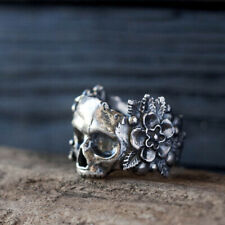 Gothic Flower Sugar Skull Rings Women Stainless Steel Pink Flowers Ring Jewelry