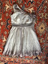 DECODE 18 One Shoulder Sequin Dress Sz 16 Silver Sheer Satin Party Dressup Cute!