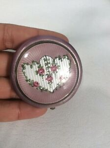 Beautiful Vtg Art Deco FMCo sterling Silver 925 Vermeil Guiloche Enamel Compact
