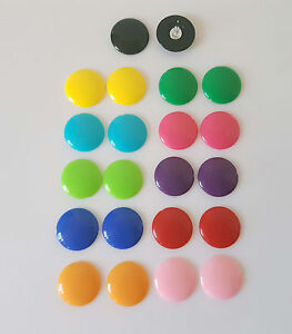 18mm - 20mm shiny flat button style stud earrings - 13 fab colour options!  *NEW