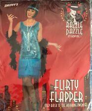Flirty Flapper 1920s Gatsby Costume Teal Dress Headpiece Necklace  Halloween 1X