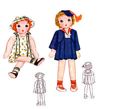 "Vintage 11"" Cloth Doll Pattern ~ Janie Doll & Dress, Sailor Outfit, etc"