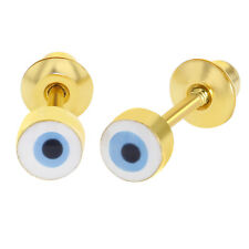 18k Gold Plated Evil Eye Protection Screw Back Earrings for Girls 4mm