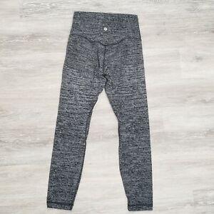 "Lululemon Align Pant II 25"" Twillines Ice Grey Black High Rise Leggings Size 6"