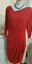 Montique designer dress 18 red stretch body con as new VGC  Stunning