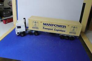 MAJORETTE ancienne 1/60 camion Volvo semi-remorque promotionnel MANPOWER