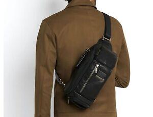 TUMI Bag 0932399DL Kelley Sling 100% Cowhide Leather Men's Black NWT