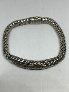 "Vintage Sterling Silver Foxtail Wheat Chain Bracelet 8""  Hammered Centerpiece"