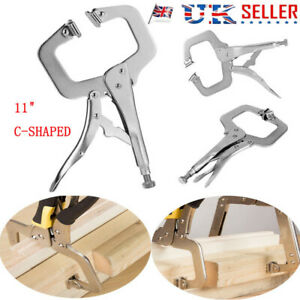 "11"" Locking Grip C Clamp Pliers Woodworking Welding Heavy Duty Hand Tool - UK Fa"