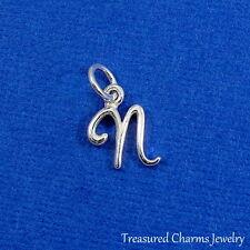 925 Sterling Silver Letter N Charm - Initial Script Cursive N Alphabet Charm NEW