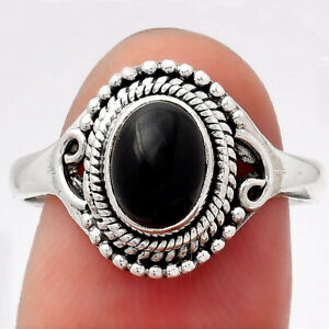 Natural Black Onyx 925 Sterling Silver Ring s.8 Jewelry E976