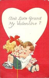 Aint Love Grand My Valentine postcard card cute adorable cartoon