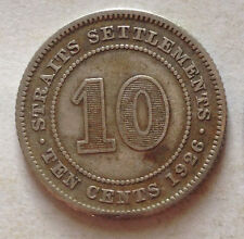Straits Settlement 10 cents coin 1926 (A)