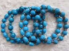 Men's  Unisex - Turquoise Bracelet with Silver Spacers