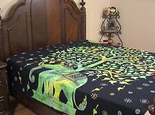 Tree of Life Green Elephant Reversible Duvet Cover Cotton Print Comforter Double