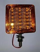 """4"""" Square 1 Post LED Indicator Light Amber to suit WS, Kenworth or Mack"""