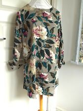 *FAB* UNBRANDED Tunic Dress with Pockets Peony Floral Roll Up Sleeves M 12 14