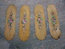 Ancienne  plaque de propreté tôle laquée peint de fleurs fin XIXe / 257mm x 70mm