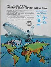 9/73 PUB COLLINS AUTOMATIC NAVIGATION SYSTEM DC-10 AIRLINER UTA AIR AFRIQUE AD