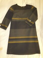 COS Grey Striped Tunic knee length thick fabric work 3/4 sleeves Dress Sz 10