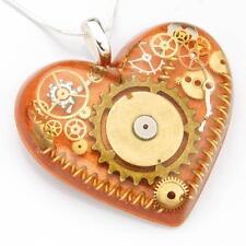 Collana pendente cuore Steampunk ingranaggi Argento Sterling Fatto a Mano in Resina di rame