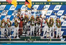 8 firmato AUDI LE MANS 2012 VITTORIA podio linea verso l'alto, SUPERBO