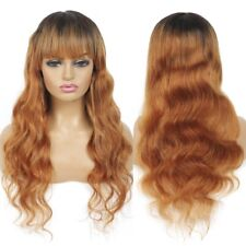 Ombre Blonde Human Hair Wigs Long Wavy Virgin Remy Full Machine Wig with Bangs