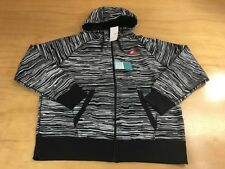 NIKE SPORTSWEAR NSW AW77 AOP STRIPE ZIP UP HOODIE SWEATER JACKET WHITE BLACK XXL