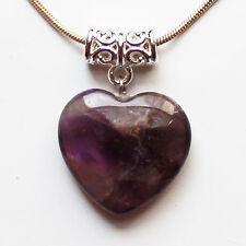 Semi-Precious Heart Stone Pendant on Silver Chain - Purple Amethyst