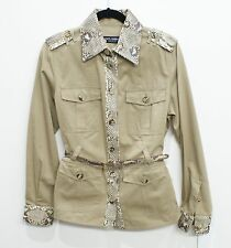 DOLCE & GABANNA Belted Safari Style Python Trim Jacket Sz 46 or 10 $1500