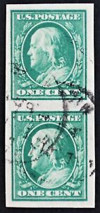 U.S. Used #383 1c Green Washington Imperf Vert Pair. XF. CDS Cancel. Gem!