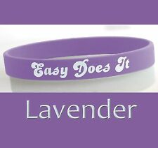 """""""Easy Does It"""" 12 Step Recovery Program Silicone Wristband/ Lavender"""