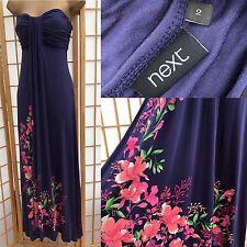 Next Blue Maxi Dress Size 10 Floral Print Strapless Sun Summer Long 199