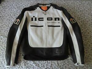 Mens Icon Motorhead Leather Motorcycle Racing Bike Jacket XL