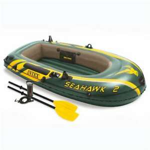 Intex Seahawk 2 Inflatable 2 Person Floating Boat Raft Oars Air Pump (For Parts)