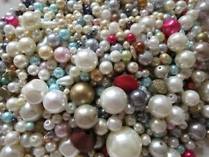 500g FAUX PEARL BEADS CRAFTS, JEWELLERY MAKING, BEADING, ASSORTMENT