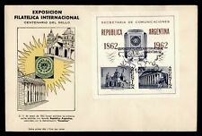 1962 ARGENTINA FDC PHILATELIC EXPO CACHET S/S IMPERF OVPT