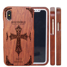 Phone Fitted Case Cover Wood Carved Bible Cross for Samsung S9+ iPhone 11 8 Plus
